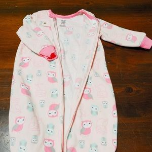 Owl Baby Girl, Sleeper Sack Sleepwear, Pajamas EUC
